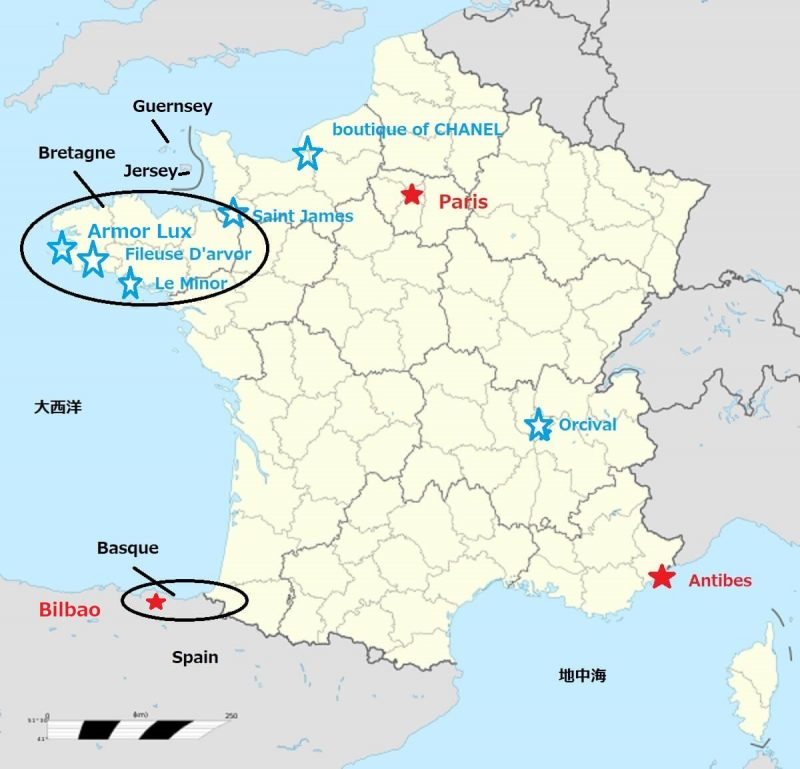 ブルトントップの位置関係を表したフランス地図