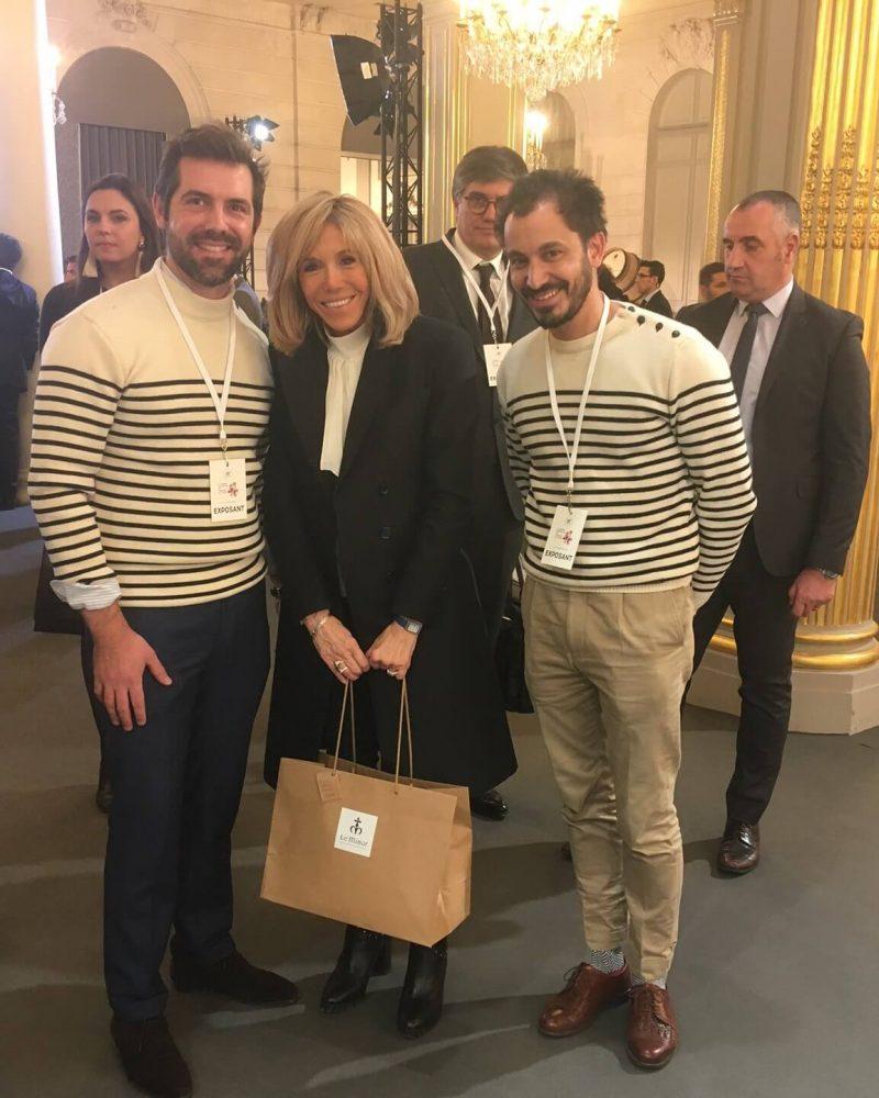 フランス大統領夫人 ブリジット女史とLe Minor経営者2人との3ショット
