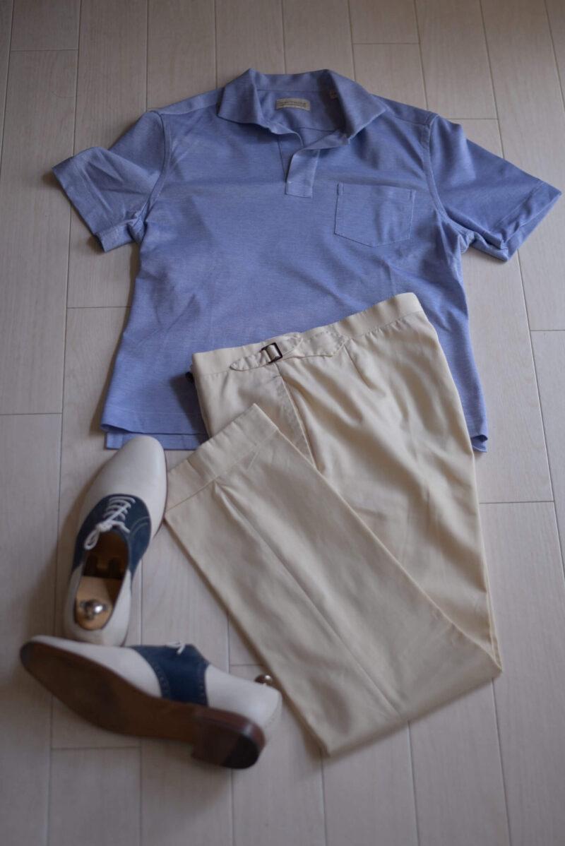 スキッパーシャツ コンビ靴 夏の装い