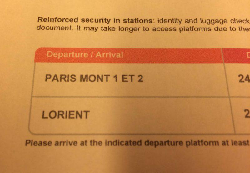 TGV パリからロリアン行チケット